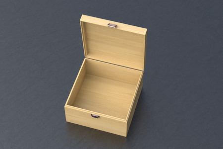Open wooden small chest or casket on black background. Include clipping path around box. 3d render