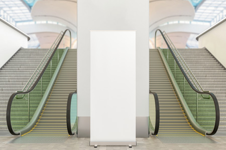 Blank roll up banner stand mockup in mall interor. Include clipping path around ad banner. 3d illustration