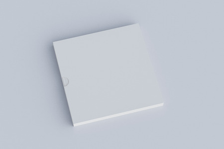 Blank square book in box on white. Include clipping path around book and box. 3d render