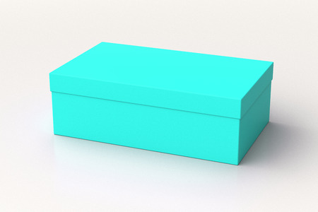 Cyan shoe box container on white background. Packaging mockup. 3d illustration