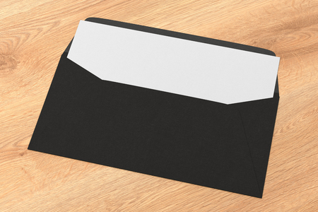 Black blank envelope with blank letter inside on wooden background. 3d render