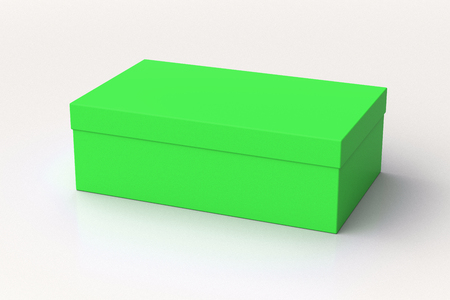 Green shoe box container on white background. Packaging mockup. 3d illustration
