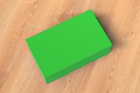 Green shoe box container on wooden background. Packaging mockup. 3d illustration