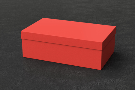 Red shoe box container on black background. Packaging mockup. 3d illustration