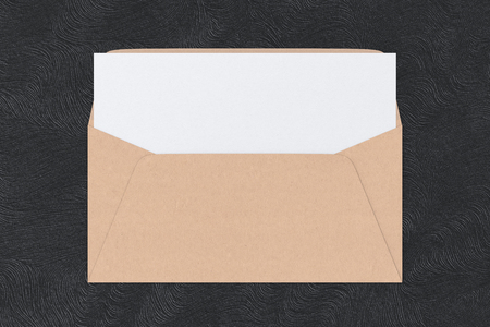Craft paper blank envelope with blank letter inside on black background. 3d render