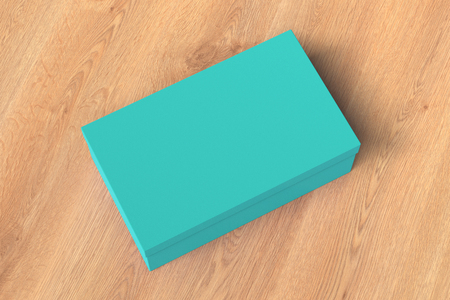 Cyan shoe box container on wooden background. Packaging mockup. 3d illustration