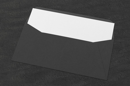 Black blank envelope with blank letter inside on black background. 3d render Stock fotó