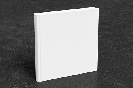 Square blank book cover mockup standing on black background with clipping path around book. 3d illustration