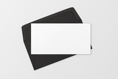 blank letter on black blank envelope on white background 3d stock