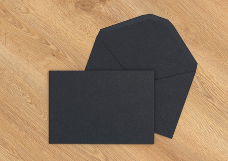 Black blank closed envelope on opened envelope on wooden background. 3d render
