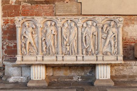 Roman sarcophagi (sarcophagus) in interior hallway of Campo Santo, monumental cemetery in Pisa, Italy. Stock Photo