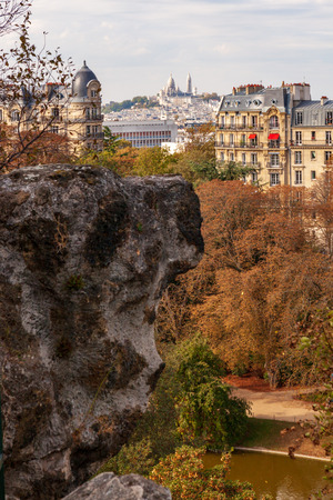 View from Parc des Buttes Chaumont to Basilique du Sacre-Coeur. Paris, France