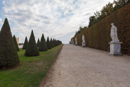 Alley marmousets in the garden of Palace of Versailles, France.