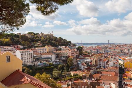 Cityscape of Lisbon with Castelo de Sao Jorge. Lisbon, Portugal