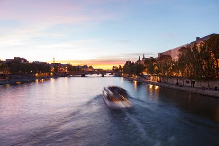 View of Seine river from  Pont des Arts. Paris, France