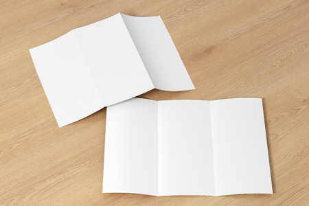 Blank trifold brochure A4 booklet on wooden  background. Front and back side. 3D illustration