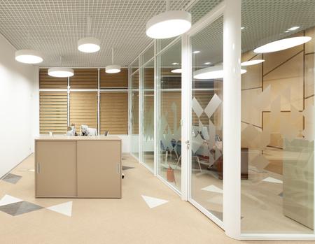 Modern office room interior with glass partition. 3d illustration Reklamní fotografie