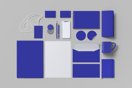 Corporate identity. Blue stationary branding set mock up on white background. 3d illustration