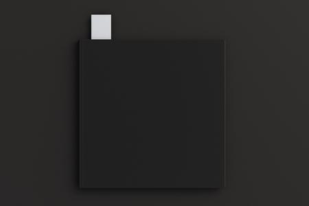 White blank black square book with bookmark mockup on black background, 3d illustration Archivio Fotografico