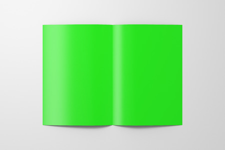Blank green half-folded flyer leaflet on white background.