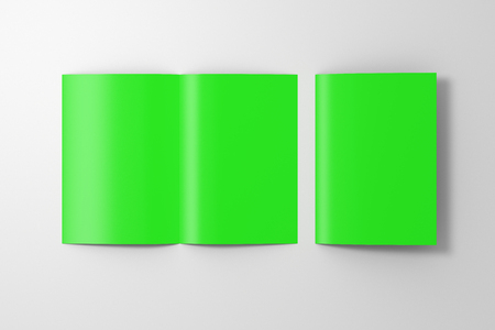 Blank green open and folded half-folded flyer leaflet on white background.