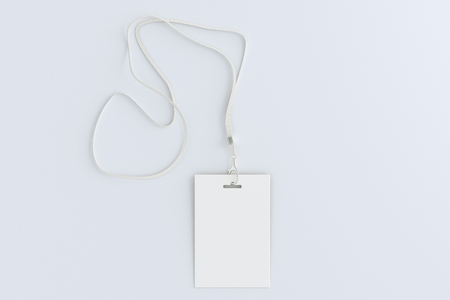 Blank identity security card on white background. 3d illustration