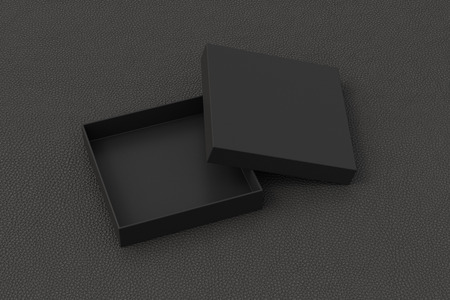 Blank open black square flat gift box mock up on black background.
