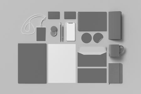 Corporate identity. Gray stationary branding set mock up on white background. 3d illustration 版權商用圖片