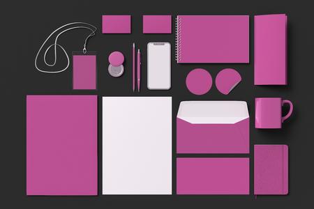 Corporate identity. Pink stationary branding set mock up on black background. 3d illustration