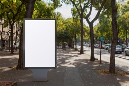Blank street billboard poster stand. 3d illustration. Фото со стока