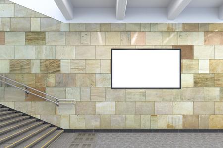 Blank horizontal advertising billboard mockup underground