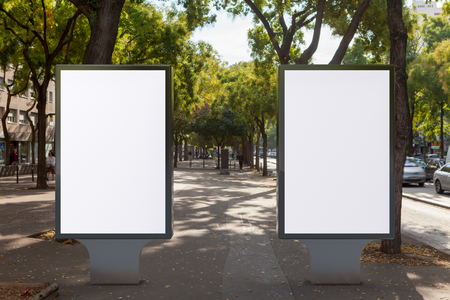Blank street billboard poster stand. 3d illustration. Stock Photo