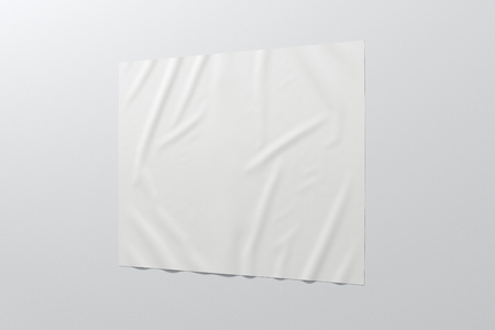 Blank horizontal wrinkled street poster on white wall. Banco de Imagens