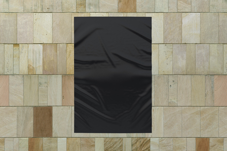 Blank black vertical wrinkled street poster on marble tiles wall. Banque d'images - 116249803