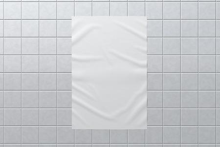 Blank vertical wrinkled street poster on glazed tiles wall. Banco de Imagens