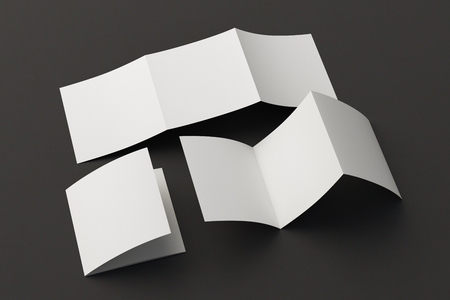 Blank trifold square brochure booklet on black background. Folded and unfolded. 3D illustration