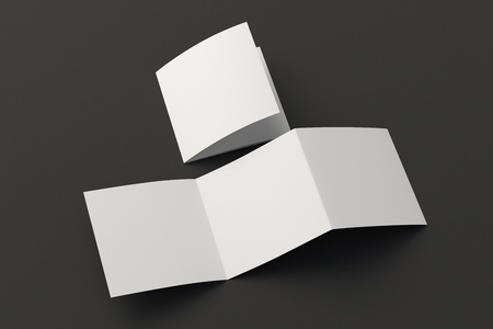 Blank trifold square brochure booklet on black background. Folded and unfolded. 3D illustration Archivio Fotografico - 120500694