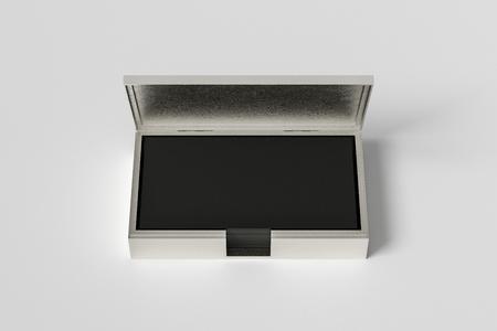 Titular de la caja de plata para tarjetas de visita con tarjetas negras en pila sobre fondo blanco. Ilustración 3d Foto de archivo