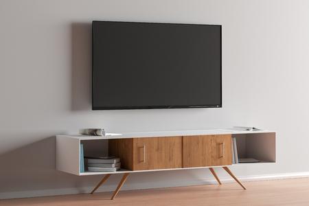 Fernsehbildschirm an der weißen Wand im modernen Wohnzimmer. 3D-Darstellung