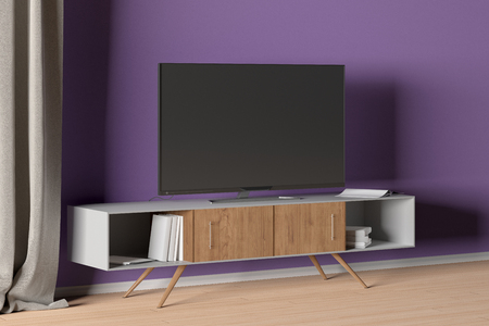 TV on the cabinet in modern living room on purple wall background. 3d illustration