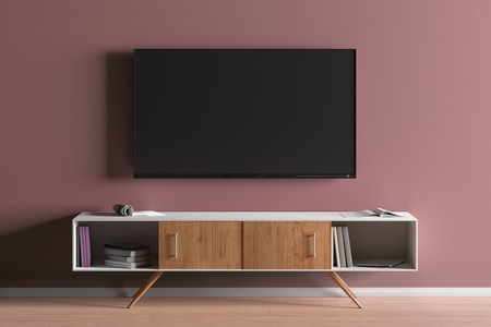 TV screen on the red wall in modern living room. 3d illustration