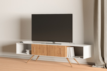 TV on the cabinet in modern living room on white wall background. 3d illustration
