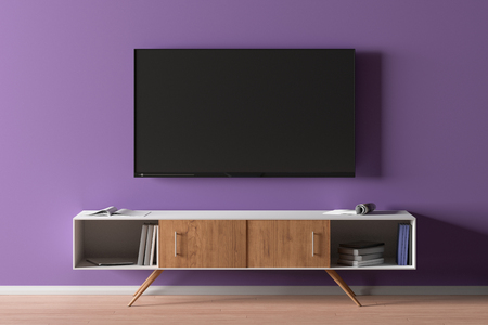 TV screen on the purple wall in modern living room. 3d illustration