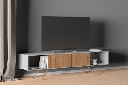 TV on the cabinet in modern living room on gray wall background. 3d illustration