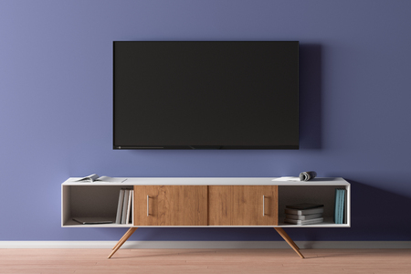 TV screen on the blue wall in modern living room. 3d illustration