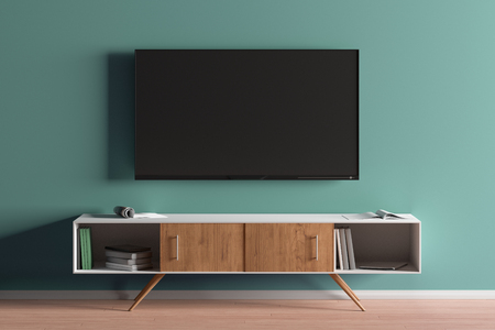 TV screen on the turquoise wall in modern living room. 3d illustration 写真素材