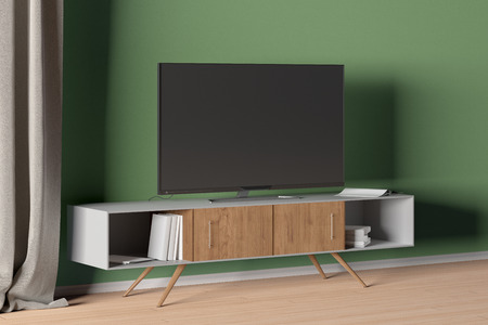 TV on the cabinet in modern living room on green wall background. 3d illustration