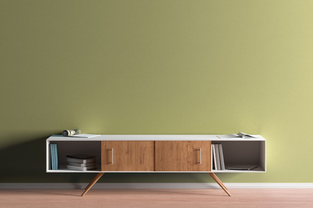 TV cabinet in modern living room with blank yellow wall background. 3d illustration