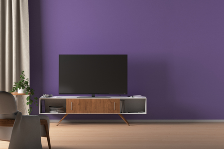 TV on the cabinet in modern living room on purple wall background with blank wall space. 3d illustration Stok Fotoğraf