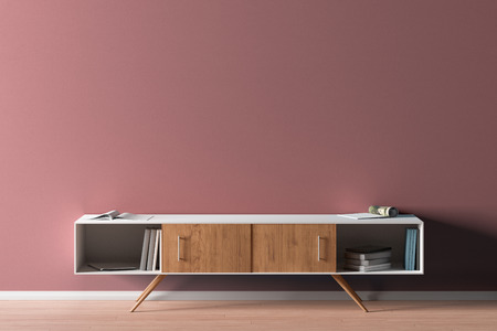 TV cabinet in modern living room with blank red wall background. 3d illustration